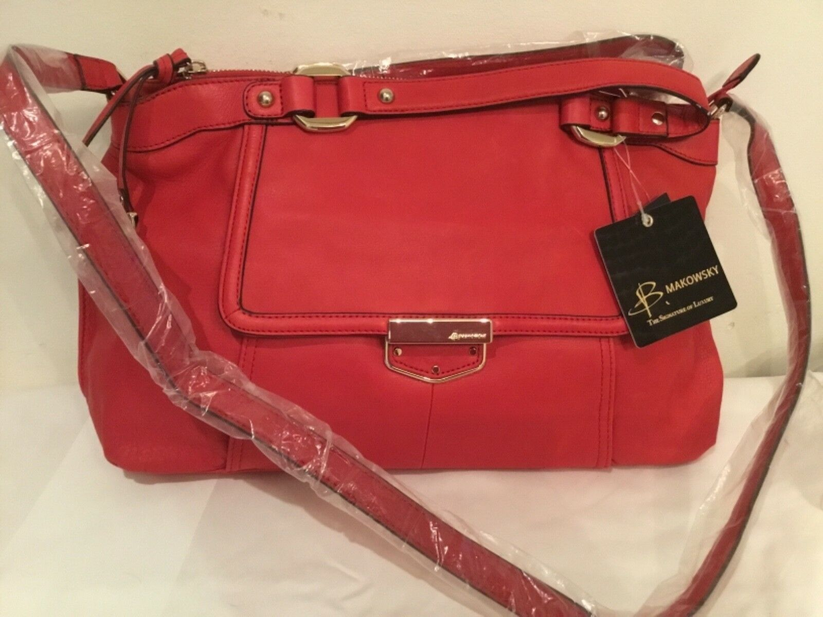B. Makowsky Lombard Satchel With Crossbody Strap Strap Strap Bag - rot | Niedrige Kosten  | Verkauf Online-Shop  | Günstig  e08d22