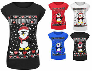 37c60b4d Image is loading WOMENS-LADIES-CHRISTMAS-PENGUIN-GLITTER-PRINT-T-SHIRTS-