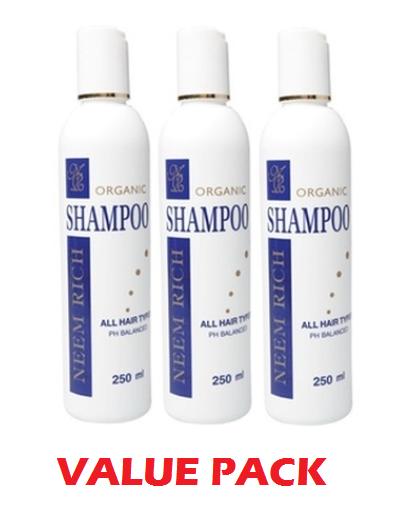 3 x 250ml Neem Rich Organic Dandruff Shampoo With Coconut Neeming Australia