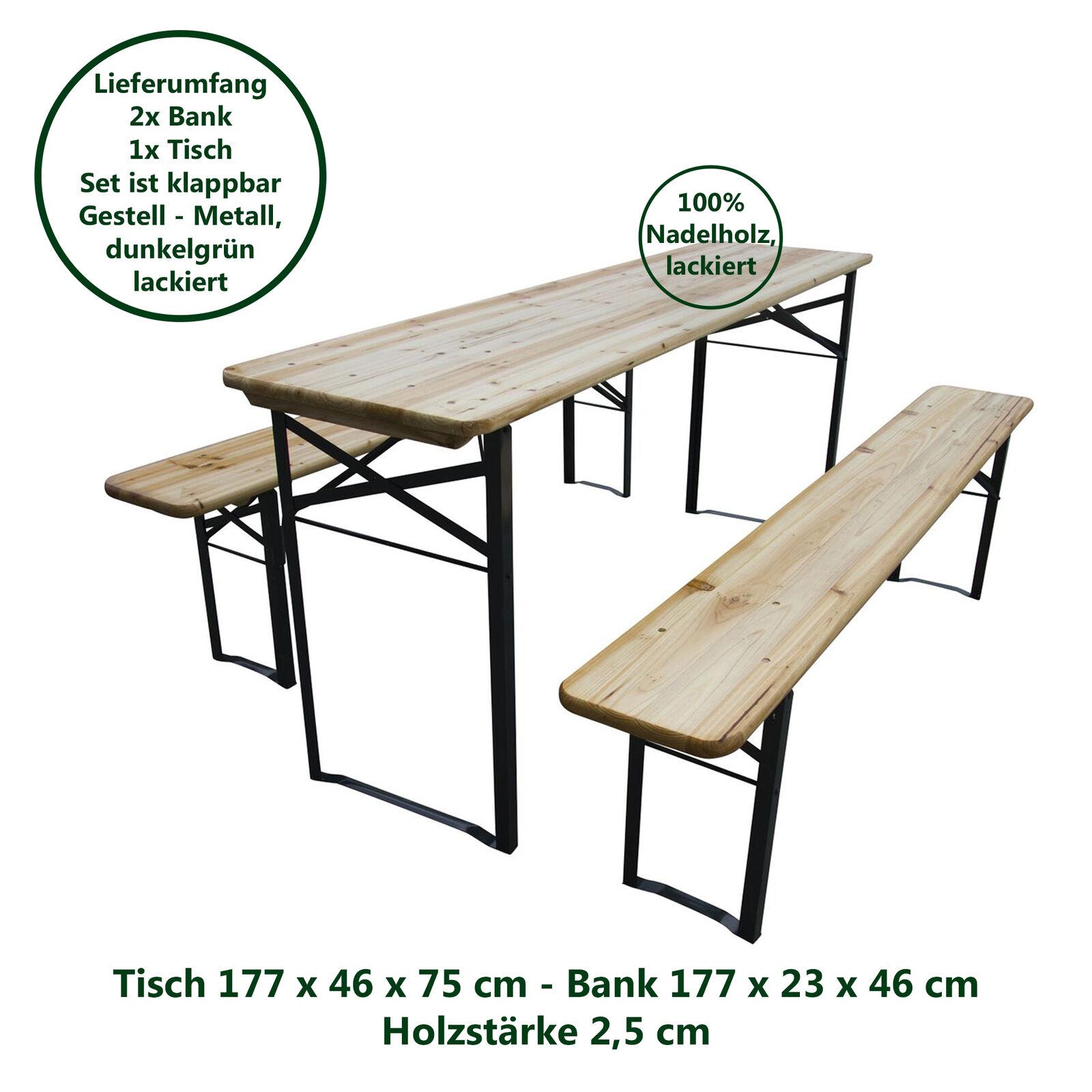Bierzeltgarnitur Natur Holz Gastronomie Biertisch Set klappbar Bank Stehtisch