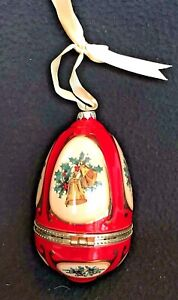 Red Musical Egg Ornament  Mr. Christmas Joy to the World 2008 New Batteries