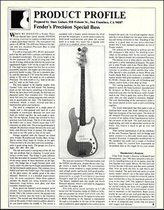 Fender Precision Special Bass guitar review article 1982 b/w 8 x 11 print