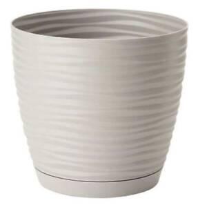 Blumentopf-17cm-rund-Blumenkuebel-Pflanzkuebel-Kunststoff-3D-Pflanztopf-Hell-grau