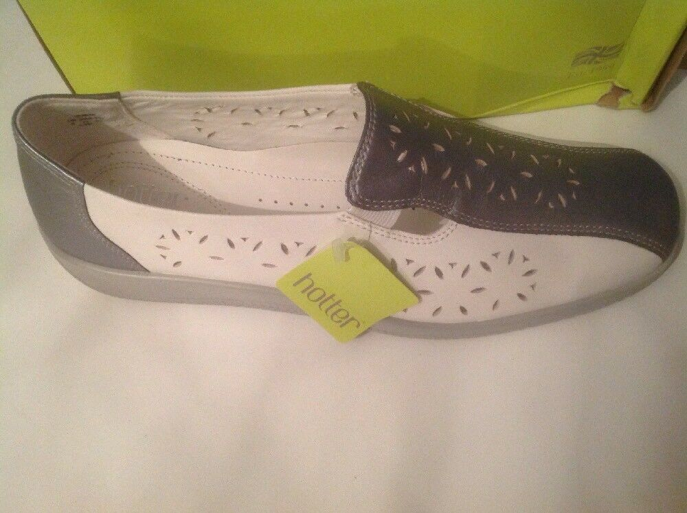 Beautiful White Grey Ladies HOTTER shoes Size 7 New Shop Clearance