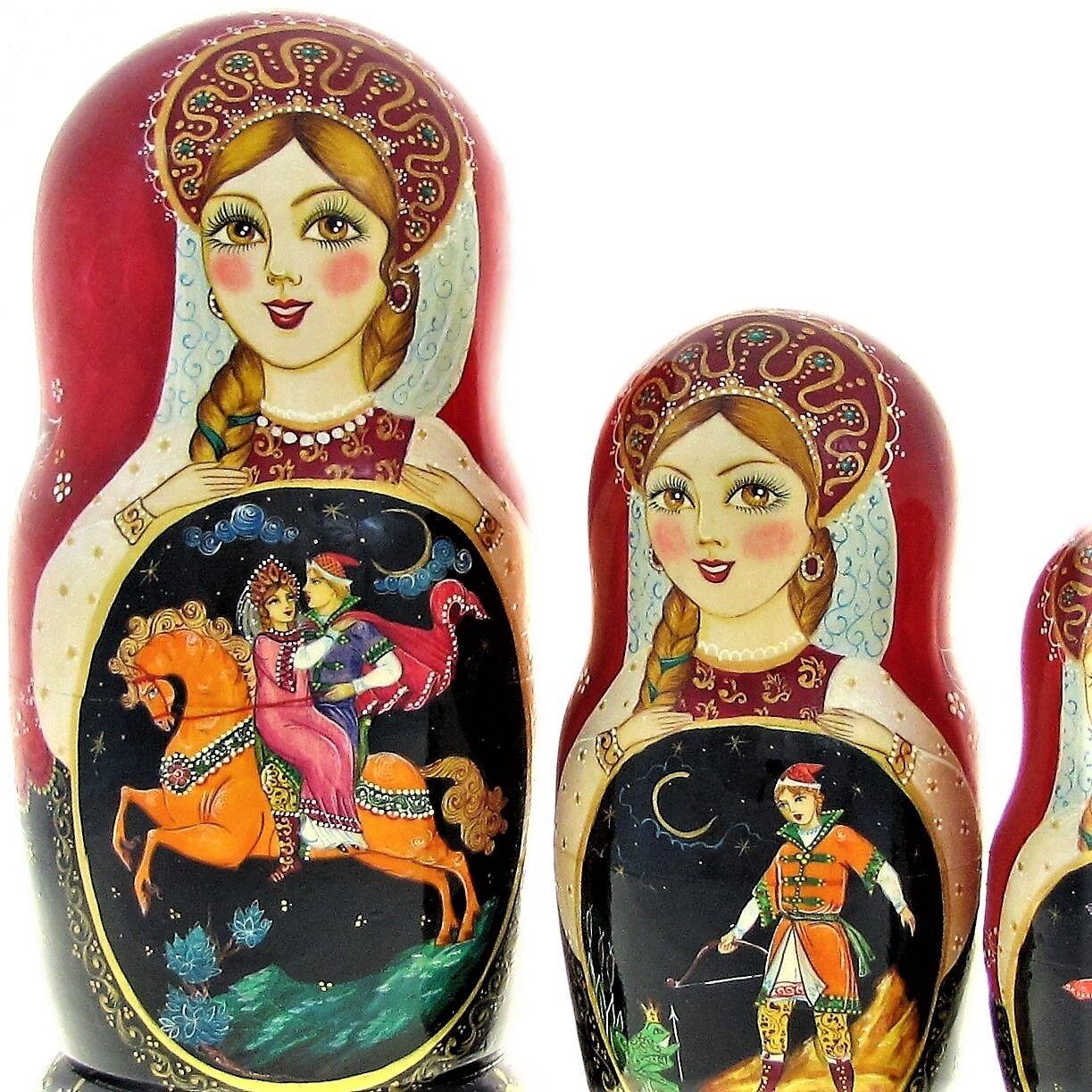 7 Poupées russes H22cm exclusive Palekh peint main signé Matriochka Nested Doll