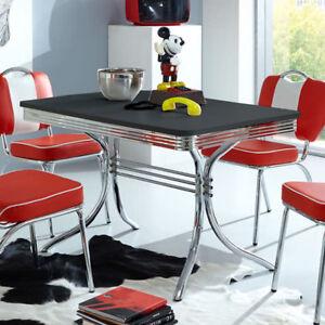 Das Bild Wird Geladen Esstisch Elvis Tisch Dinertisch Edelstahl Und Schwarz  American