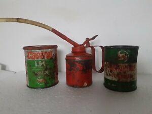 Vintage Castrol Motor Collectables. Old Used Tins x 2 and oil dispenser,job lot