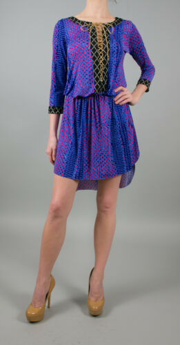 T-Bags Los Angeles 3//4 Sleeve Contrasted Lace Up Tunic Hi-Lo  Dress in Blue