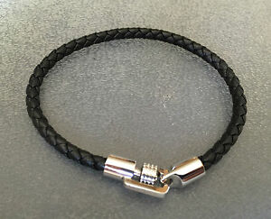 bracciale-uomo-S-AGAPO-pelle-intrecciata-nera-in-acciaio-21-cm