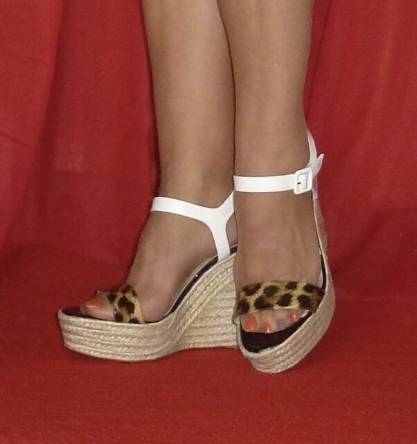 5a636918833e real christian louboutin white brown sandals b1003 9e922  wholesale 675 christian  louboutin spachica 120 leopard white wedge espadrille 40 9 a6d1b 2aaaa