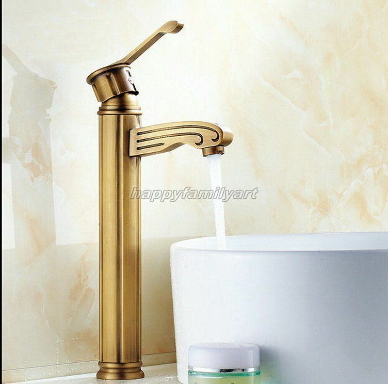 Laiton Antique Rétro Simple Trou Salle de bains bassin évier mitigeur robinet ynf317
