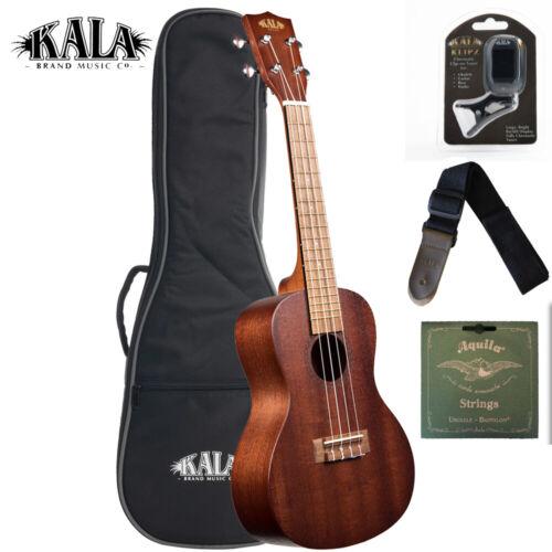 Tuner Strap and Strings Kala KA-15C-BNDL Mahogany Concert Ukulele w// Bag
