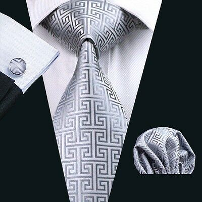 Classic Grey Mens Tie Set Novelty Silver Silk Necktie JACQUARD WOVEN Tie C-484