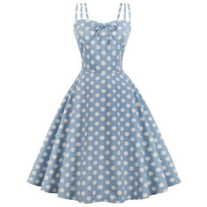 Details about Vintage Style Women Swing Dress Dot Retro Rockabilly Plus  Size Polka Dot Solid