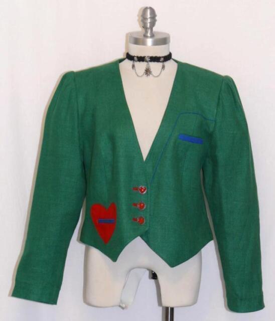 Zeiler Green Linen German Summer Women Hearts Dress Suit Jacket