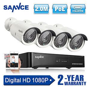 SANNCE 4CH PoE 4x1080P NVR Kit Network HD IP Système de Caméra VidéoSurveillance