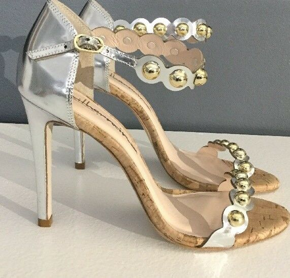NEW & Anthropologie Valentina Heels Size 7 Metallic Silver & NEW Gold 4dc3bc