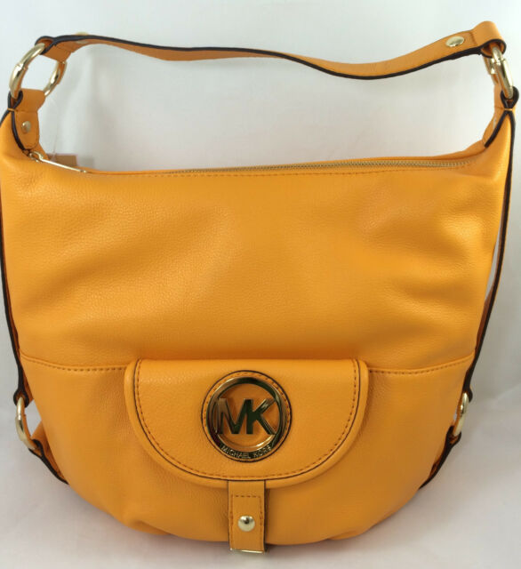 5355da9a92 New Michael Kors MK Fulton Large Leather Hobo Shoulder Bag Purse Handbag  Yellow