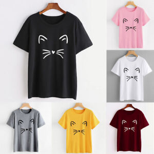 Women-Girl-Casual-Short-Sleeve-Shirt-Loose-Blouse-Tops-T-Shirt-Pullover-Hot-Sale