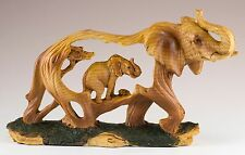 Elephant Carved Wood Look Figurine Resin 7.25 Inch Long New In Box!