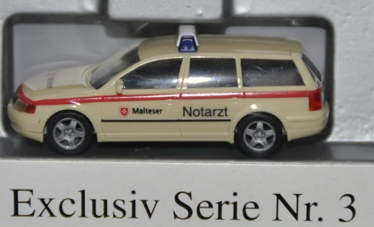 "Herpa Exclusiv Serie Nr. Nr. Nr. 3 - VW Passat NEF ""Malteser , Rarität, H0 1 87, neu+OVP e30ce1"