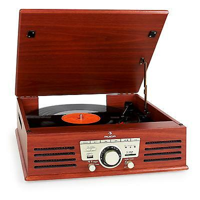 TURNTABLE VINYL RECORD PLAYER STEREO SPEAKER SYSTEM USB SD FM *FREE P&P SPECIAL