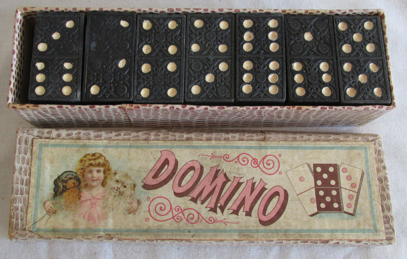 Victorian Era Domino's w Original Box Germany 28 Piece RARE Antique Game Nice
