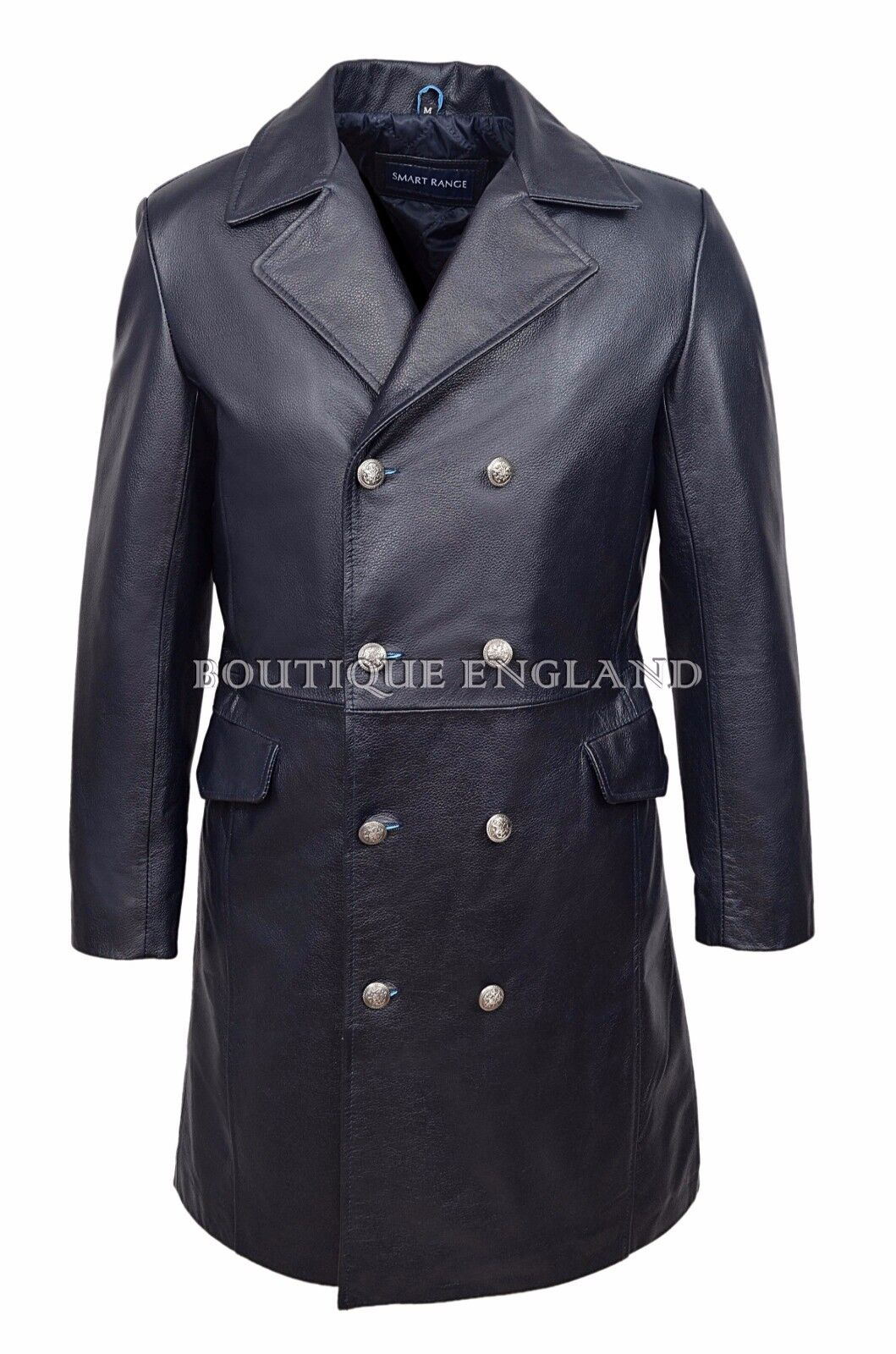 Mens GERMAN NAVAL Coat Navy Classic Military Style Real HIDE LEATHER 9490