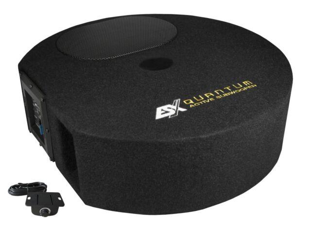 ESX Q300A Aktiv Subwoofer Reserverad Bass mit Endstufe Verstärker