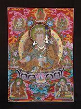 "42.5"" x 30.5"" Guru Rinpoche Gold Tibetan Buddhist Thangka Scroll Painting Nepal"