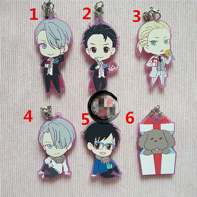 T559 Hot Anime Yuri on ice Acrylic Keychain Key Ring Rare straps cosplay AA