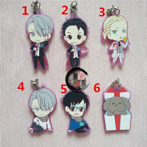 T641 Hot Anime Yuri sur glace caoutchouc KeyChain porte-clés rare bretelles Cosplay AA