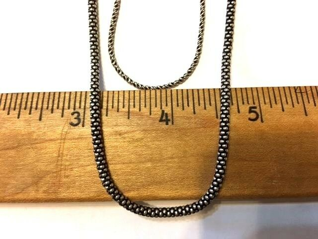 Mother  Daughter Combo - 24  Oxidized 1.5 mm Rope & 18  Oxidized Popcorn Chains