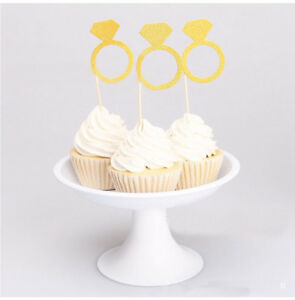 6X-Gold-Diamond-Ring-Cupcake-Toppers-Wrapper-Wedding-Party-Decoration-Engagement