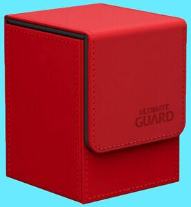 ULTIMATE-GUARD-LEATHERETTE-FLIP-100-RED-DECK-CASE-Standard-Size-Card-Box-mtg