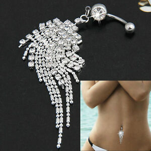 Navel-Belly-Body-Piercing-Jewelry-Crystal-Tassel-Chain-Dangle-Button-Ring-Bar