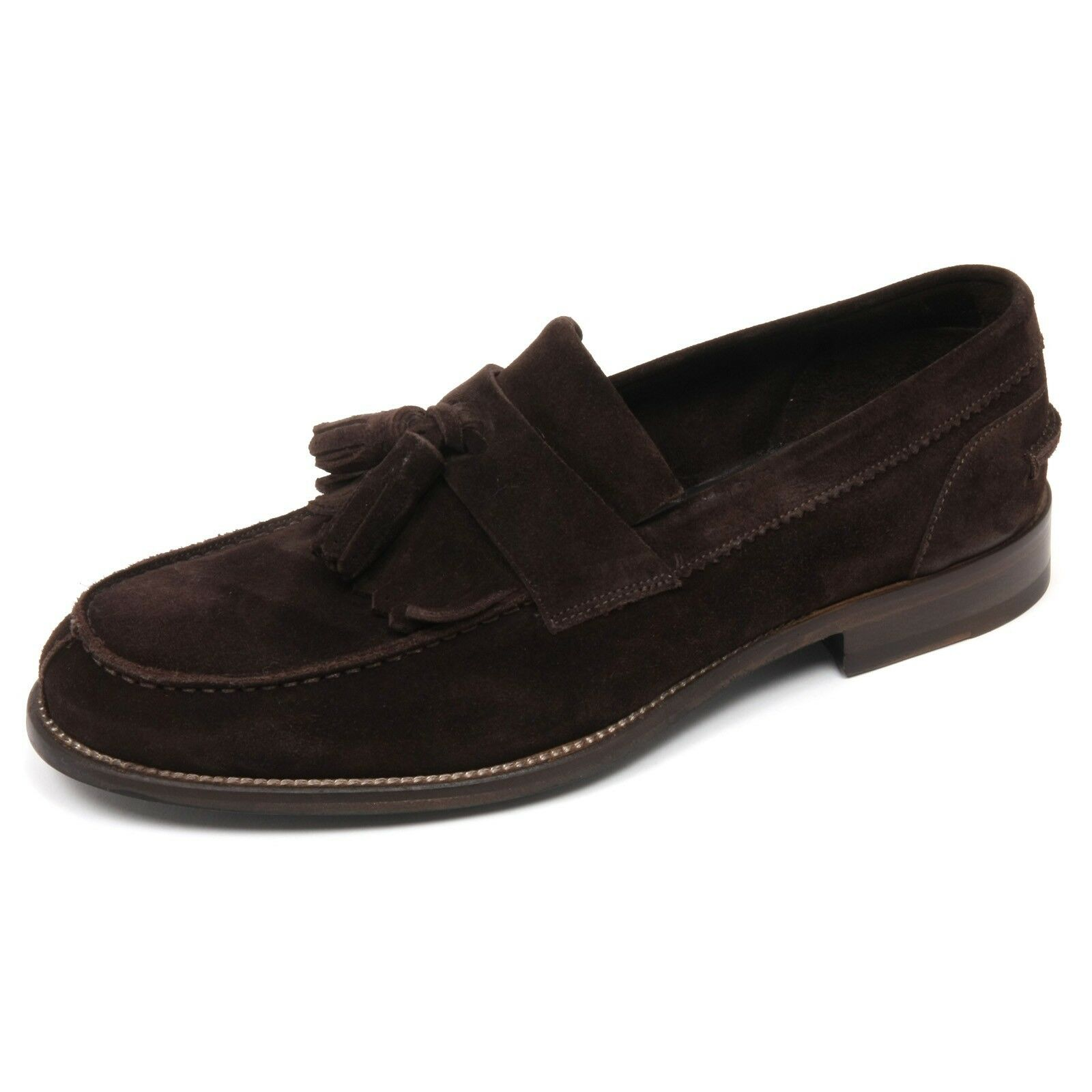 C7818 mocassino uomo CARACCIOLO 1971 scarpa marrone scuro loafer shoe man