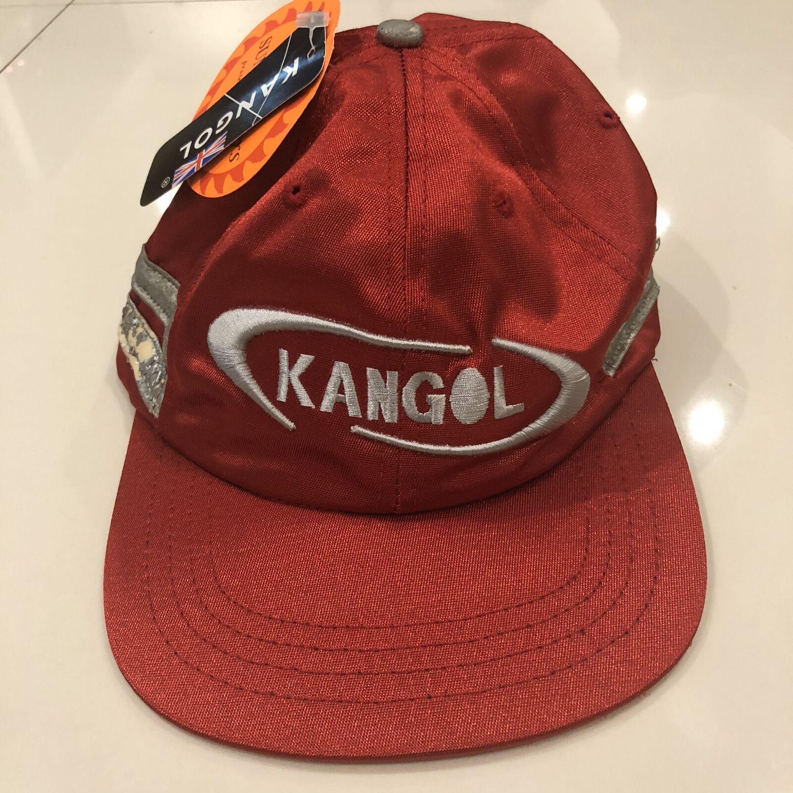 RARE Vintage Hat Kangol SPELL OUT Red Satin Sunstoppers Strapback Hat Vintage Cap New Tags 1af8d5