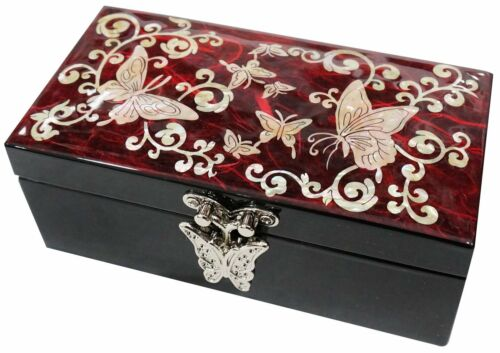 Lacquer inlaid mother of pearl wood  trinket jewelry jewel box butterfly red