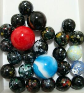 25-Marbles-X-Mas-Gift-Display-Collect-Play-Boys-Girls-Speckled-Shooters-Red