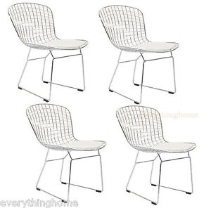 4 Bertoia Style Dining Side Cafe Chairs Steel Wire Chrome