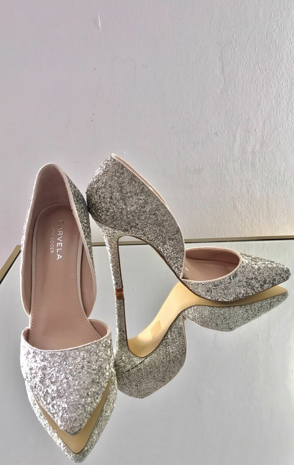 Kurt Geiger Carvela Lexi Silver High Heel Court Schuhes Größe 8 41   NEW