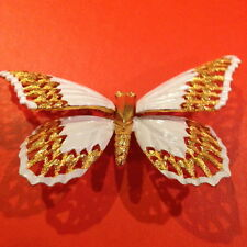 HUGE VINTAGE SIGNED PAULINE RADER  MOTION WINGS GOLD WHITE BUTTERFLY PIN BROOCH
