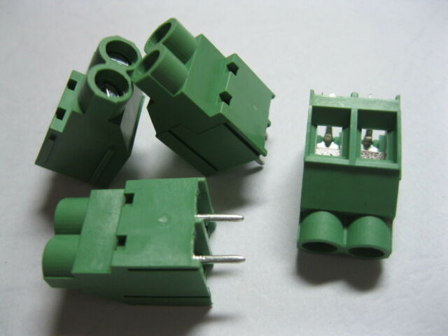 100 pcs Screw Terminal Block Connector 2 pin 6.35mm Green Wire Cage Type DC635