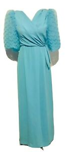 Vtg-GIBBS-LOUIS-80-s-Sky-Blue-Puff-Sleeves-Back-Slit-Long-Party-Prom-Dress-Sm