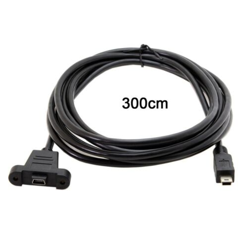 3m Panel Mount Type Mini USB 5Pin Male to Female Adapter Cable with Screws MA