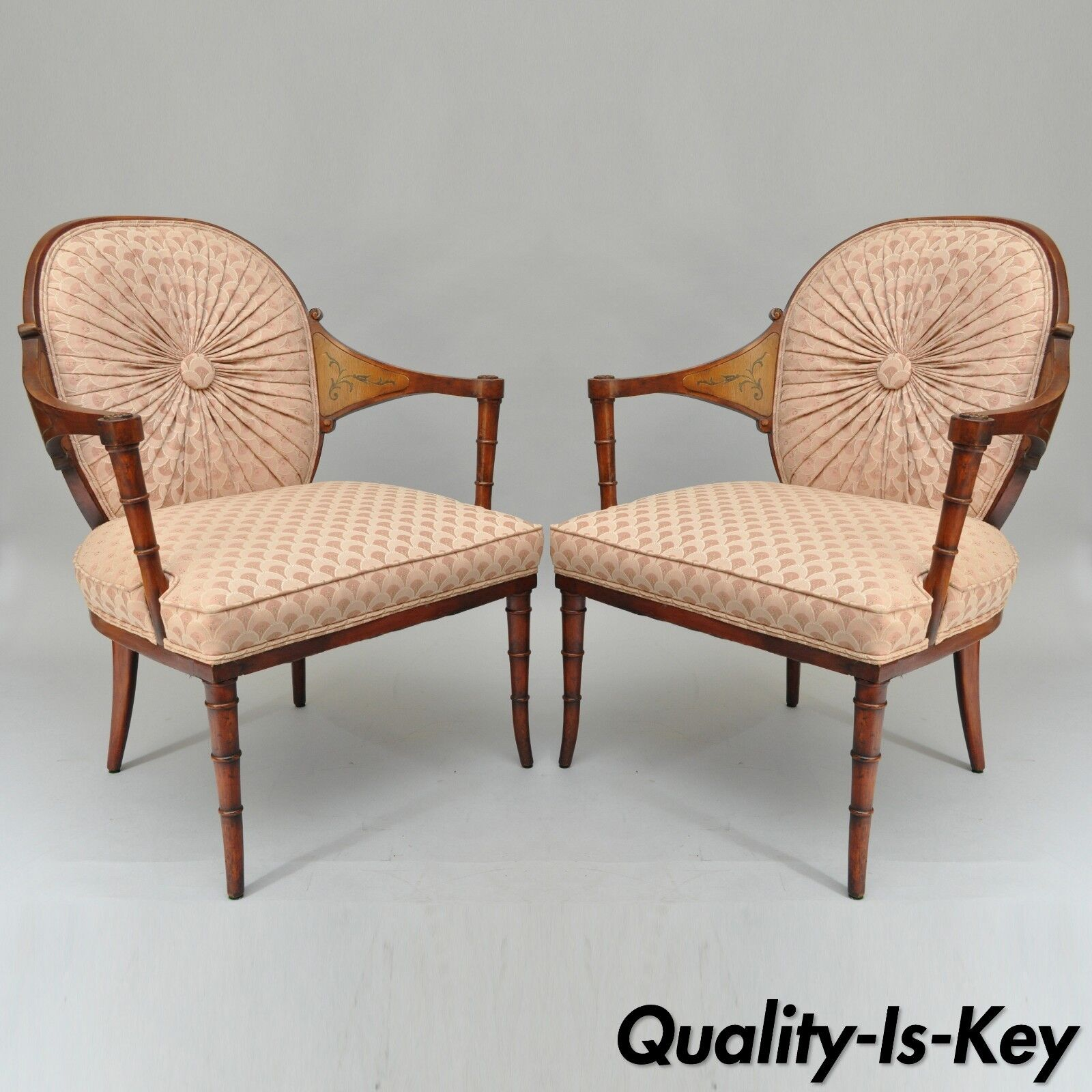 Pair Of Vintage Faux Bamboo Hollywood Regency Pink Fireside Lounge