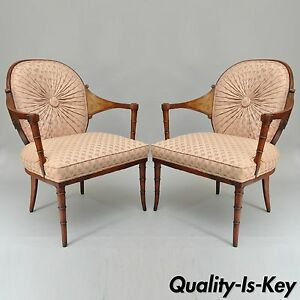 Details About Pair Of Vintage Faux Bamboo Hollywood Regency Pink Fireside  Lounge Arm Chairs