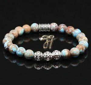 Herbst-Jaspis-Armband-Bracelet-Perlenarmband-Silber-Beads-Buddha-8mm