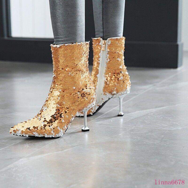 Sensual mujer Stiletto Zapatos Taco Alto Puntera Puntiaguda Lateral Lentejuelas Brillante botas al Tobillo Cremallera Lateral Puntiaguda 2fedb2